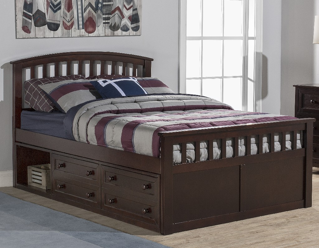Hillsdale Charlie Full Captain Bed Storage Units Chocolate Wood