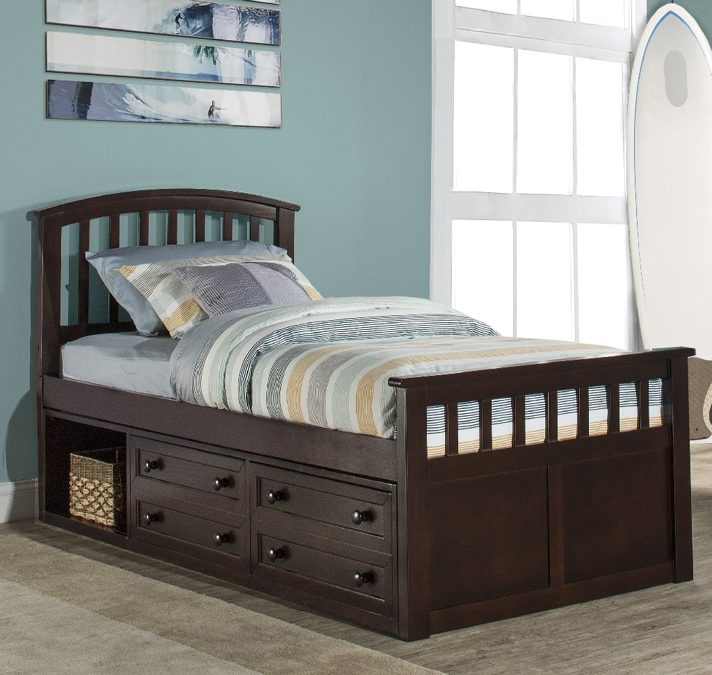 Hillsdale Charlie Twin Captain Bed Two Storage Units Chocolate Wood