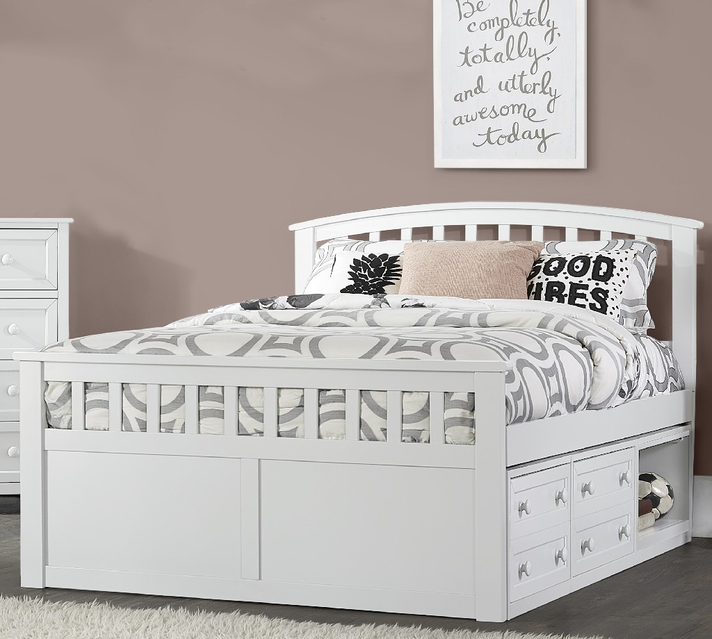 Hillsdale Charlie Full Captain Bed Storage Units White Wood