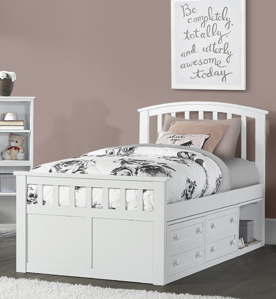 Hillsdale Charlie Twin Captain Bed Two Storage Unit White Wood