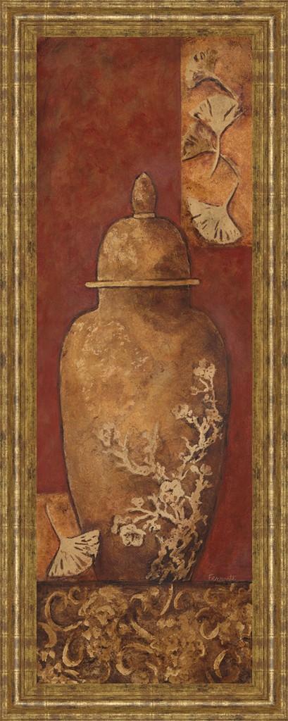 "18 in. x 42 in. ""Asian Nuvo I"" By Angela Ferrante Print in Framed Print Wall Art - Classy Art 1033"