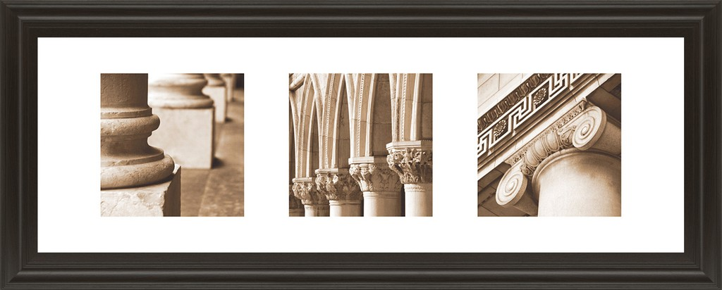 """18 in. x 42 in. """"Architectural Triptych I"""" By Tony Koukos Framed Print Wall Art - Classy Art 1471"""