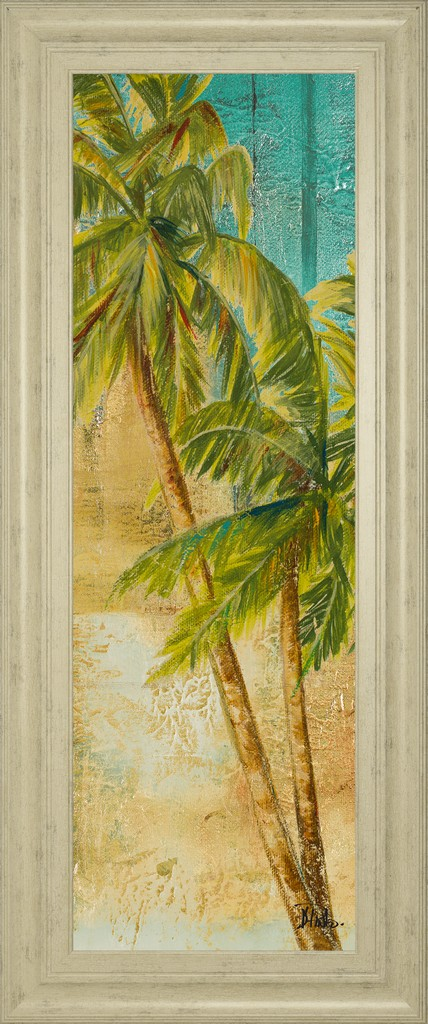 """18 in. x 42 in. """"Beach Palm Panel 1"""" By Patricia Pinto Framed Print Wall Art - Classy Art 1612"""