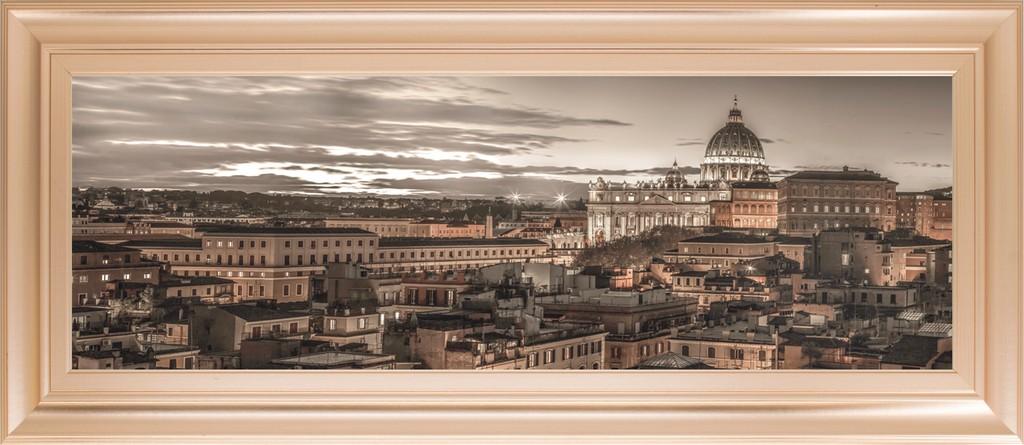 "18 in. x 42 in. ""Bella Roma"" By Frank Assaf Framed Print Wall Art - Classy Art 1640"
