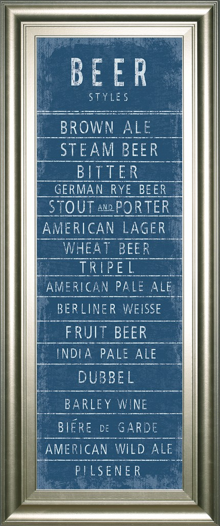 """18 in. x 42 in. """"Beer Styles"""" By The Vintage Collection Framed Print Wall Art - Classy Art 1645"""