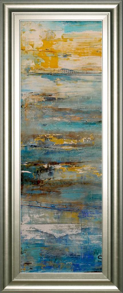 "18 in. x 42 in. ""Beyond The Sea I"" By Erin Ashley Framed Print Wall Art - Classy Art 1775"