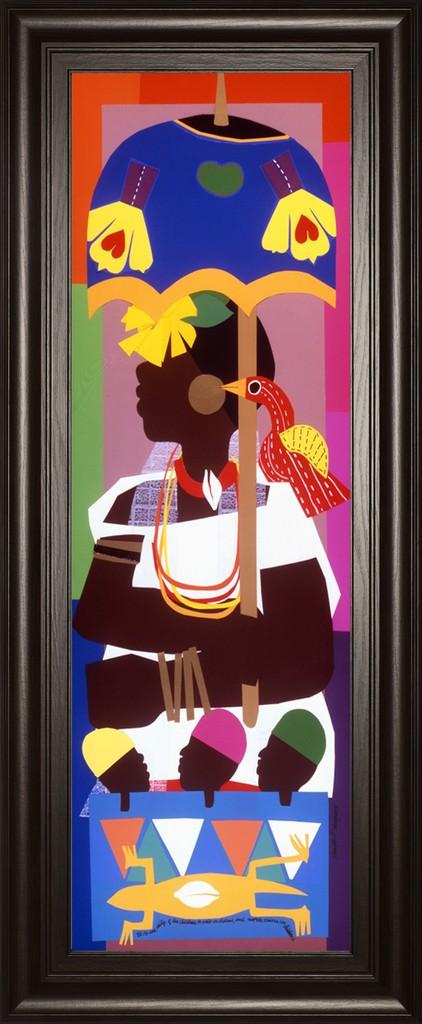 "18 in. x 42 in. ""Ashanti"" By Varnette Honeywood Framed Print Wall Art - Classy Art 1849"
