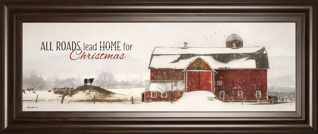 """18 in. x 42 in. """"All Roads Lead Home For Christmas"""" By Lori Deiter Framed Print Wall Art - Classy Art 1944"""