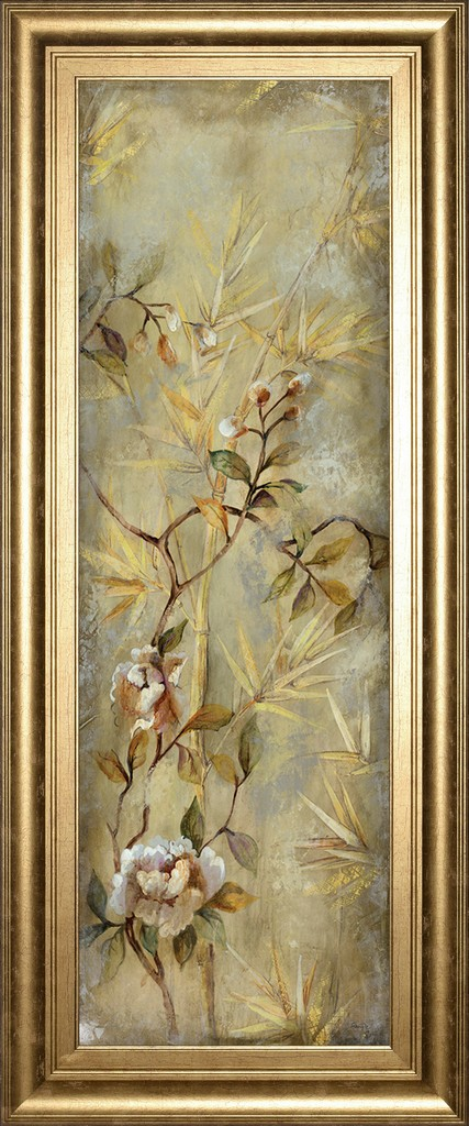 """18 in. x 42 in. """"Bamboo Floral Il"""" By Georgie Framed Print Wall Art - Classy Art 1981"""
