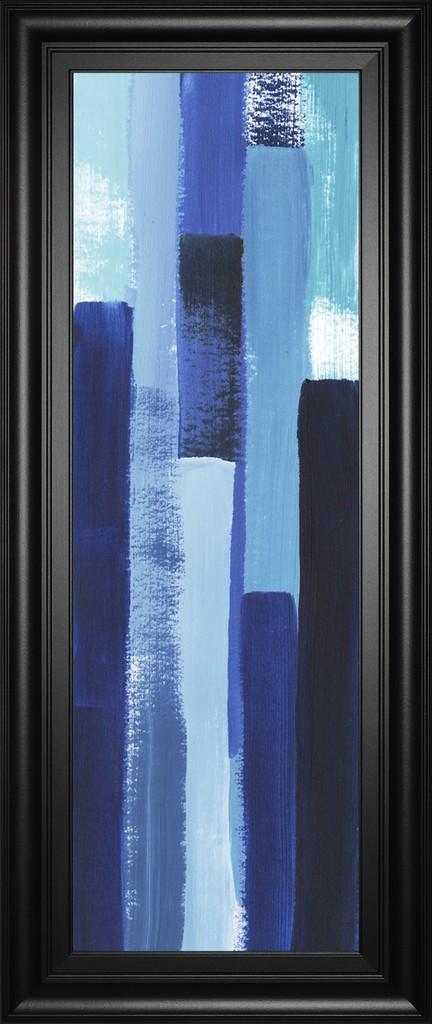 """18 in. x 42 in. """"Azule Waterfall I"""" By Grace Popp Framed Print Wall Art - Classy Art 3007"""