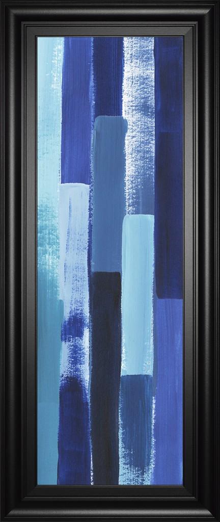 """18 in. x 42 in. """"Azule Waterfall Il"""" By Grace Popp Framed Print Wall Art - Classy Art 3008"""
