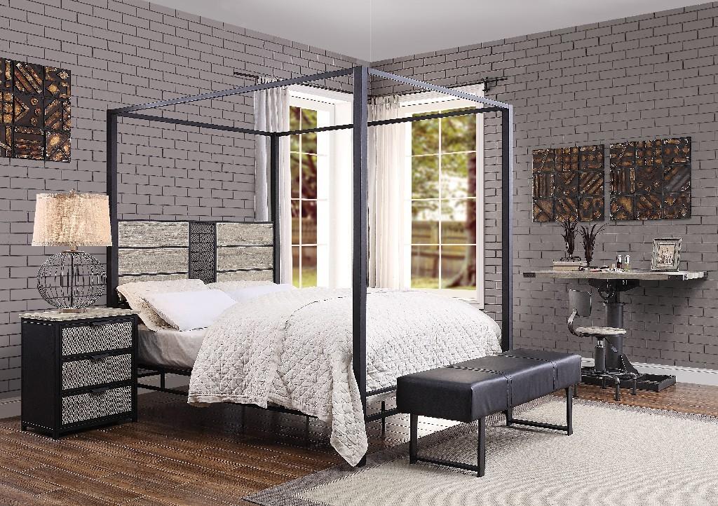 Acme Baara Queen Bed Natural Sandy Gray