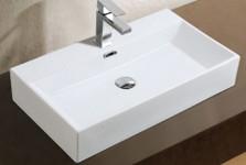 Adelmo Over the Counter Vessel Ceramic Basin Sink, Glossy White - A&E Bath and Shower CCB-382