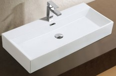 Dasha Over the Counter Vessel Ceramic Basin Sink, Glossy White - A&E Bath and Shower CCB-383