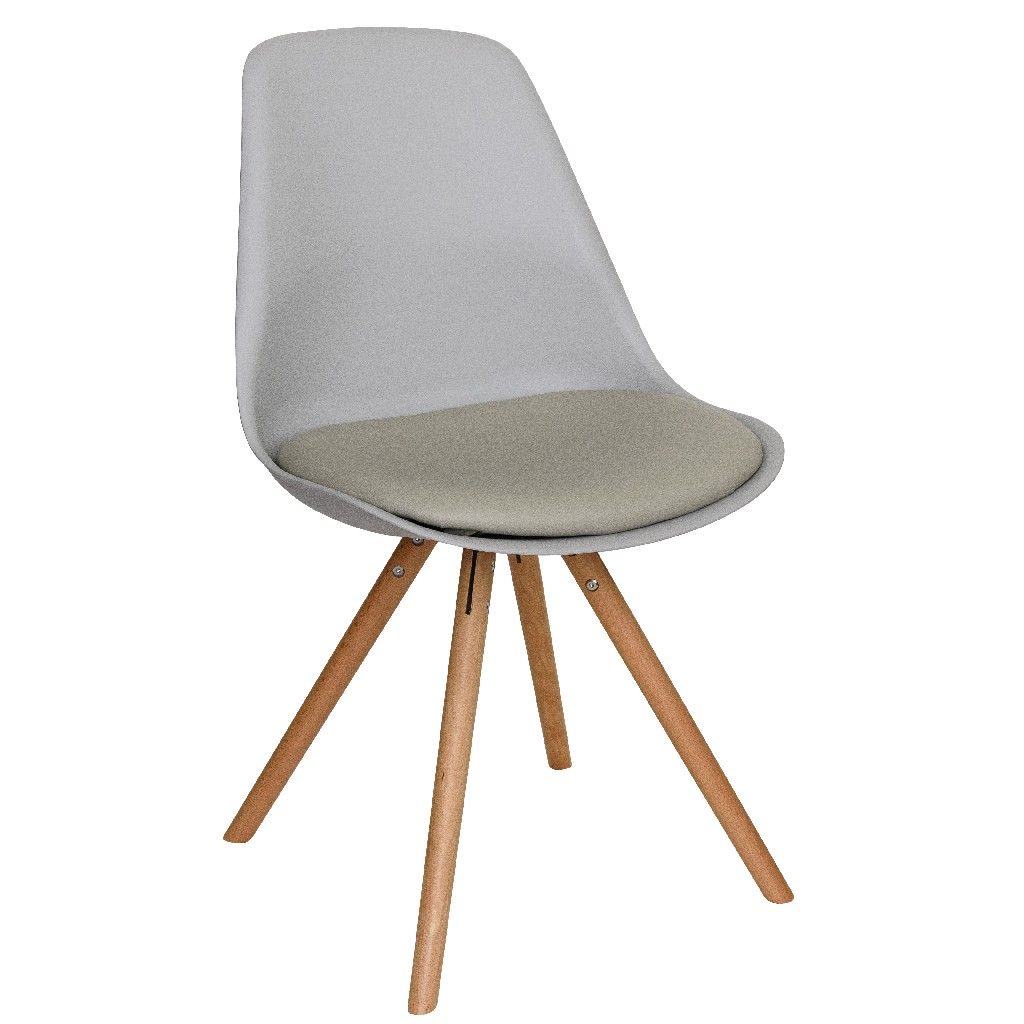 Andover Modern Cushioned Dining Chair w/ Wooden Legs - LeisureMod AN19LGR