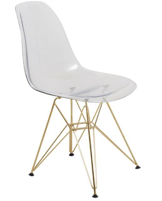 Cresco Molded Eiffel Side Chair w/ Gold Base - LeisureMod CR19CLG
