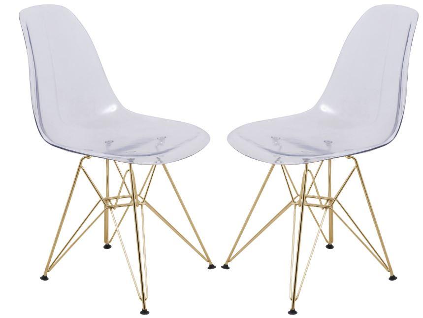 Cresco Molded Eiffel Side Chair w/ Gold Base (Set of 2) - LeisureMod CR19CLG2