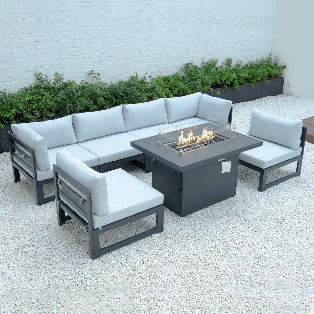 Chelsea Patio Sectional Fire Pit Table Black Aluminum Cushions