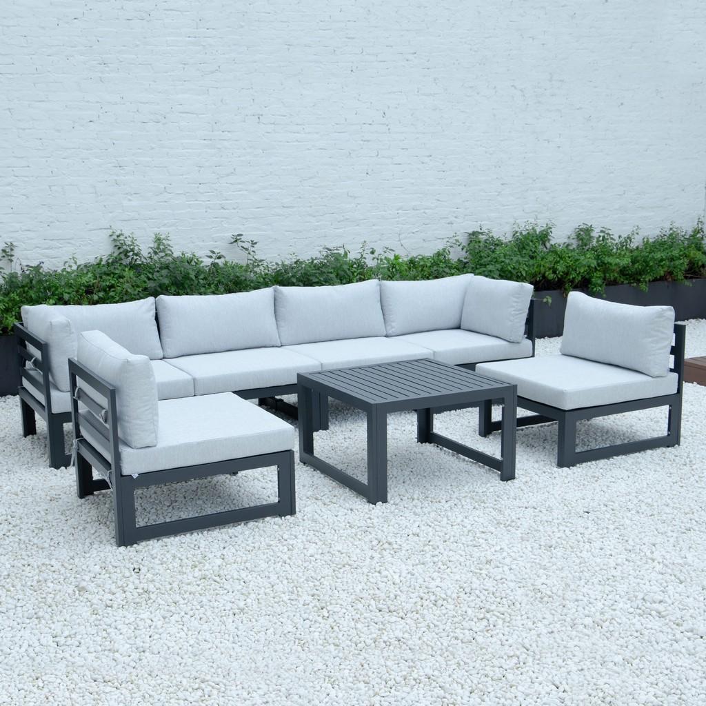 Chelsea Patio Sectional Coffee Table Set Black Aluminum Cushions