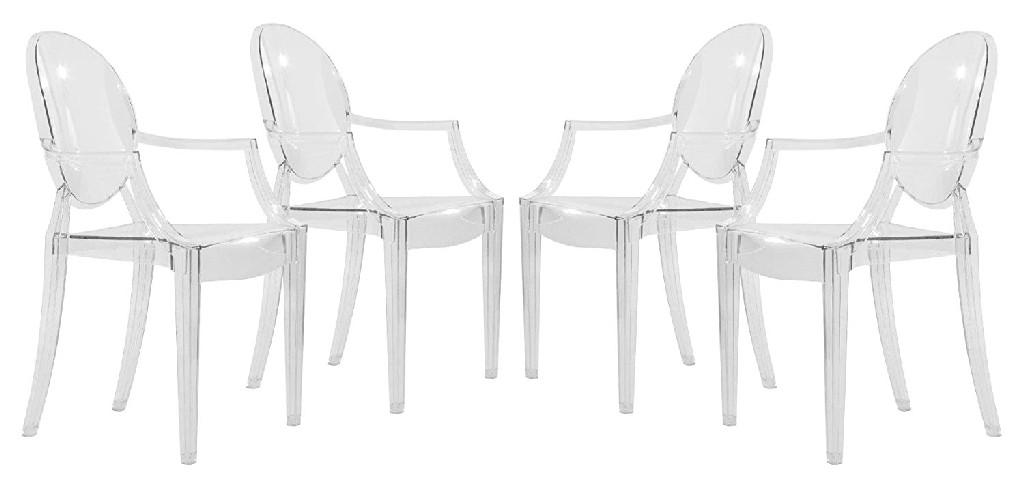 Carroll Modern Acrylic Chair (Set of 4) - LeisureMod GC22CL4