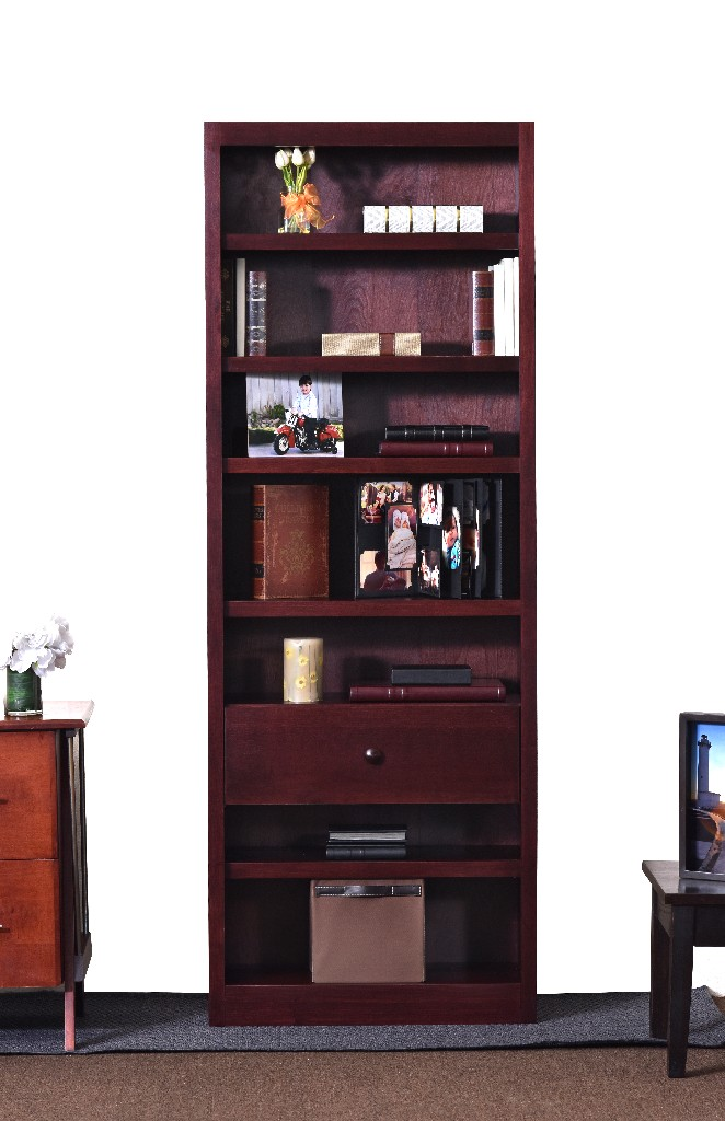 7 Shelf Bookcase, 84 inch Tall with Fix Shelf/Drawer, Cherry Finish - Concepts in Wood BKFS-3084-C