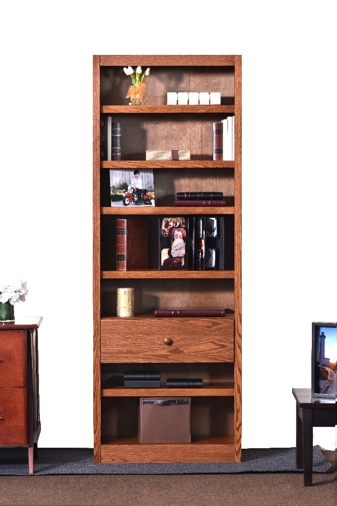 7 Shelf Bookcase, 84 inch Tall with Fix Shelf/Drawer, Dry Oak Finish - Concepts in Wood BKFS-3084-D