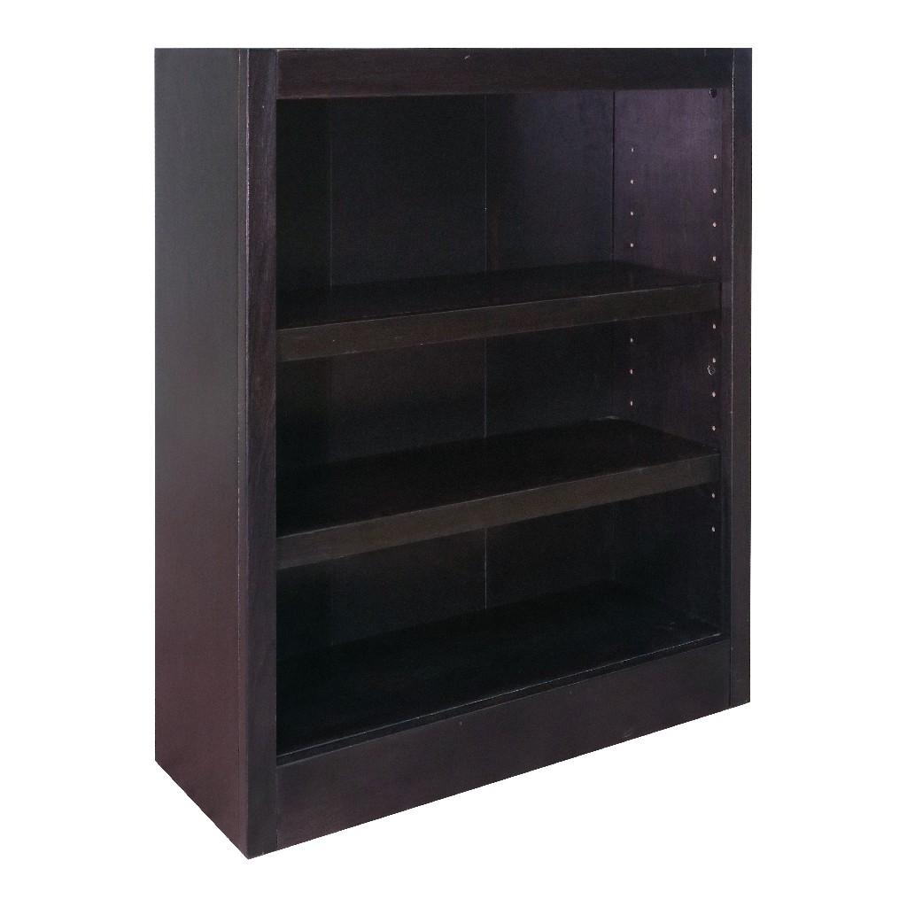 3 Shelf Wood Bookcase, 36 inch Tall, Espresso Finish - Concepts in Wood MI3036-E