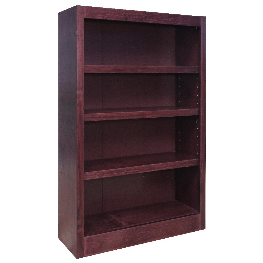 4 Shelf Wood Bookcase, 48 inch Tall, Cherry Finish - Concepts in Wood MI3048-C