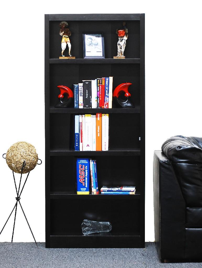 5 Shelf Wood Bookcase, 72 inch Tall, Espresso Finish - Concepts in Wood MI3072-E