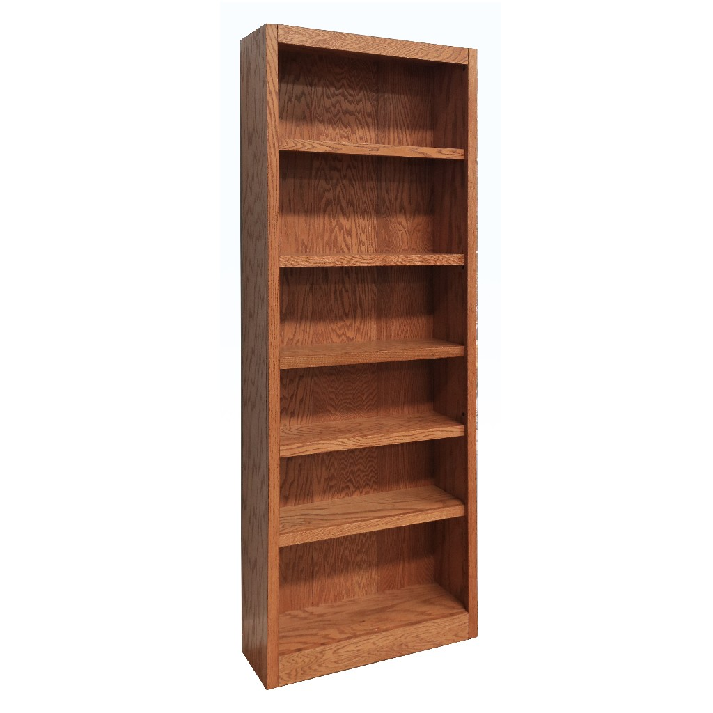 6 Shelf Wood Bookcase, 84 inch Tall, Oak Finish - Concepts in Wood MI3084-D