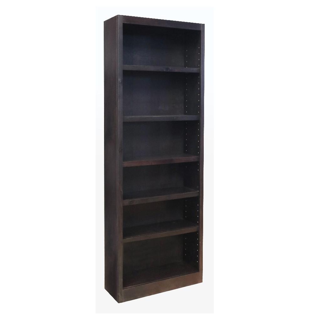6 Shelf Wood Bookcase, 84 inch Tall, Espresso Finish - Concepts in Wood MI3084-E