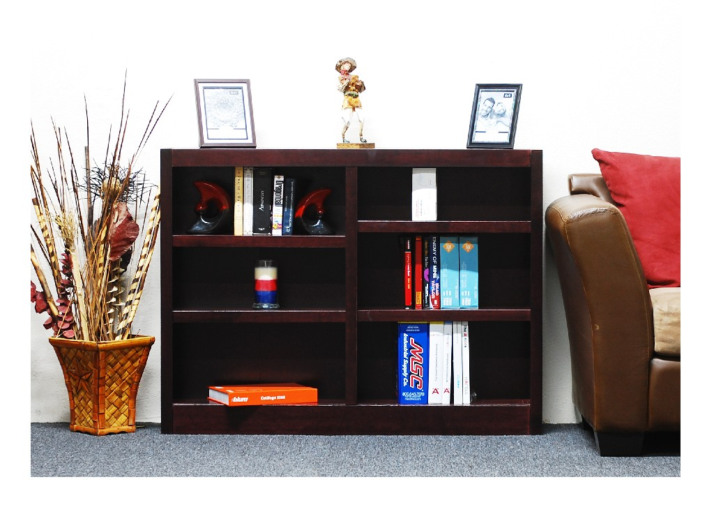 6 Shelf Double Wide Wood Bookcase, 36 inch Tall, Cherry Finish - Concepts in Wood MI4836-C