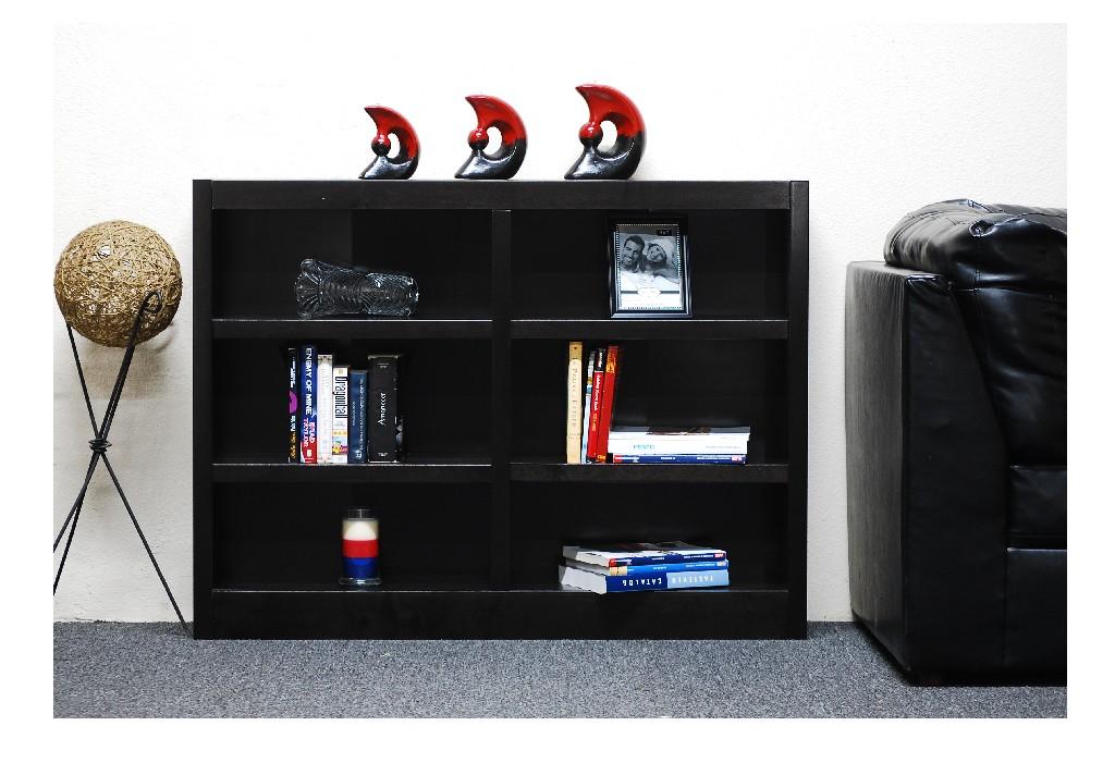 6 Shelf Double Wide Wood Bookcase, 36 inch Tall, Espresso Finish - Concepts in Wood MI4836-E