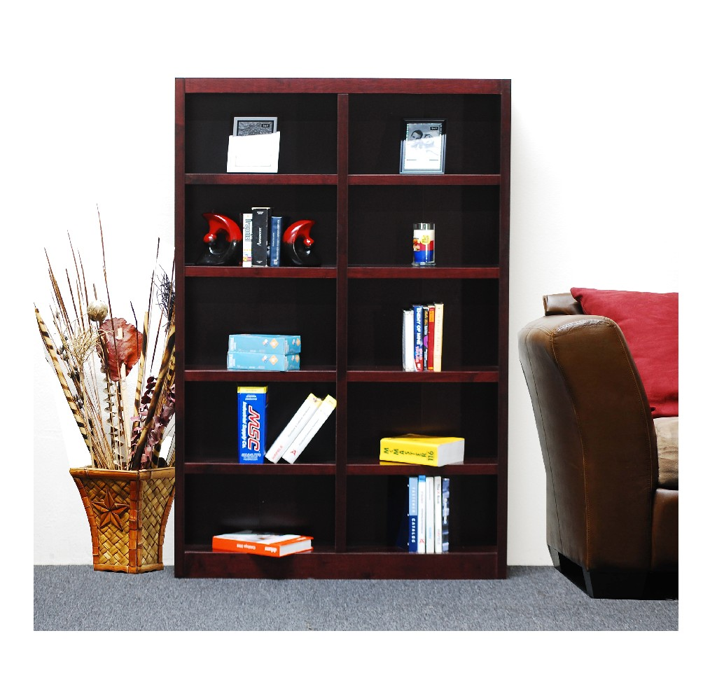 10 Shelf Double Wide Wood Bookcase, 72 inch Tall, Cherry Finish - Concepts in Wood MI4872-C