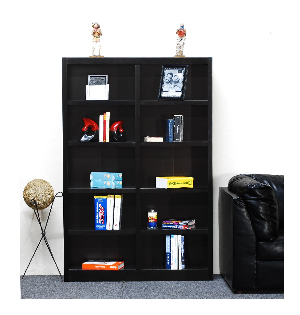 10 Shelf Double Wide Wood Bookcase, 72 inch Tall, Espresso Finish - Concepts in Wood MI4872-E