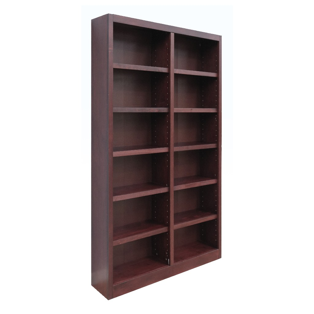12 Shelf Double Wide Wood Bookcase, 84 inch Tall, Cherry Finish - Concepts in Wood MI4884-C