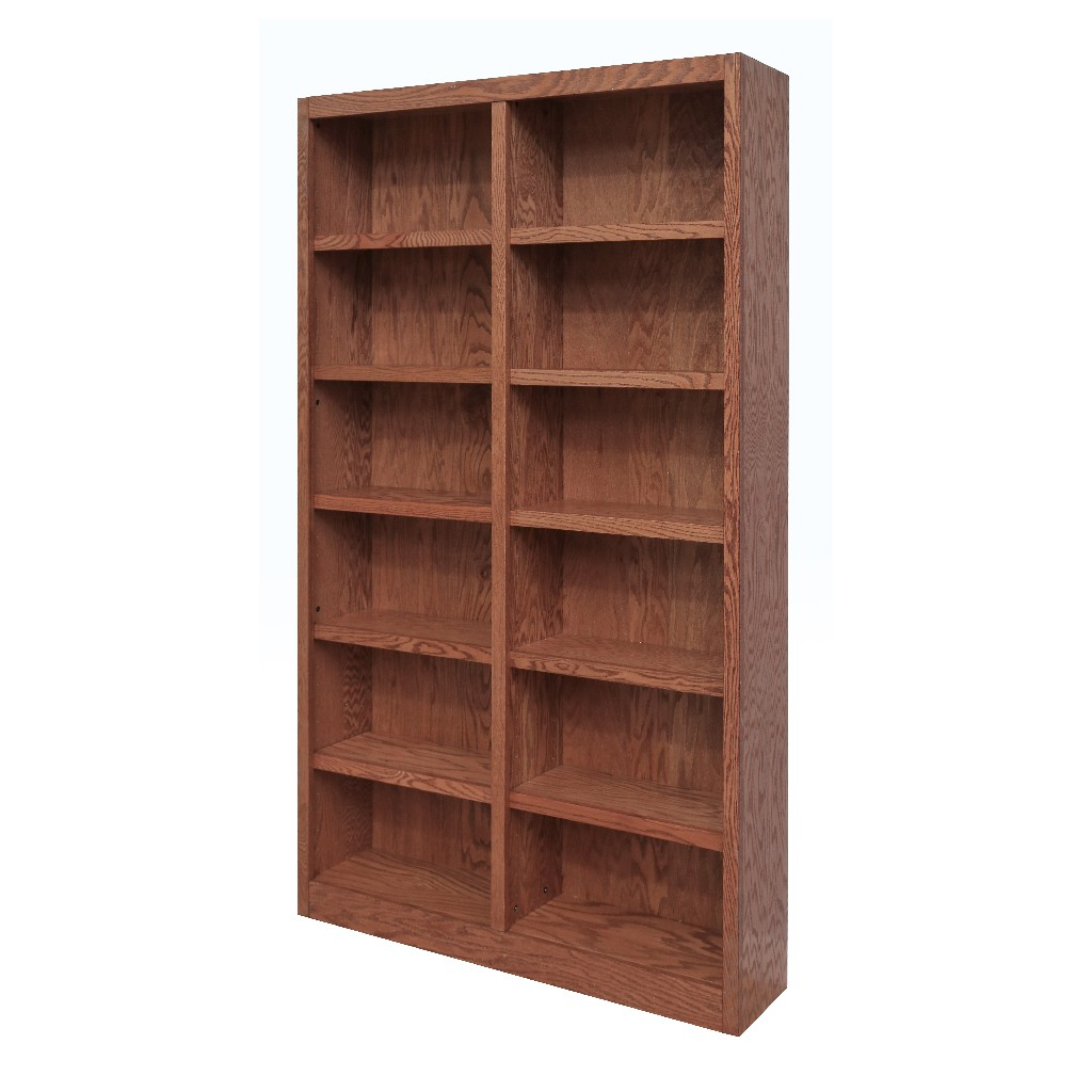 12 Shelf Double Wide Wood Bookcase, 84 inch Tall, Oak Finish - Concepts in Wood MI4884-D