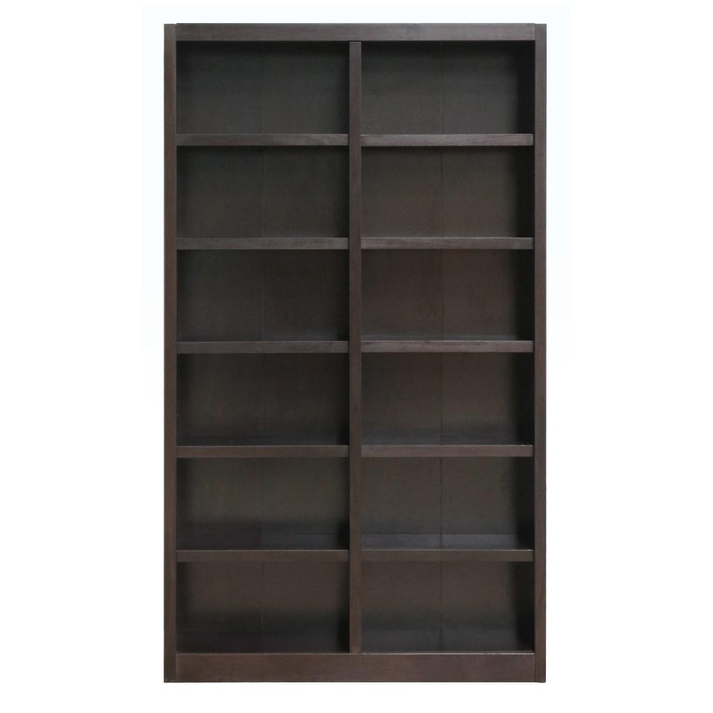 12 Shelf Double Wide Wood Bookcase, 84 inch Tall, Espresso Finish - Concepts in Wood MI4884-E
