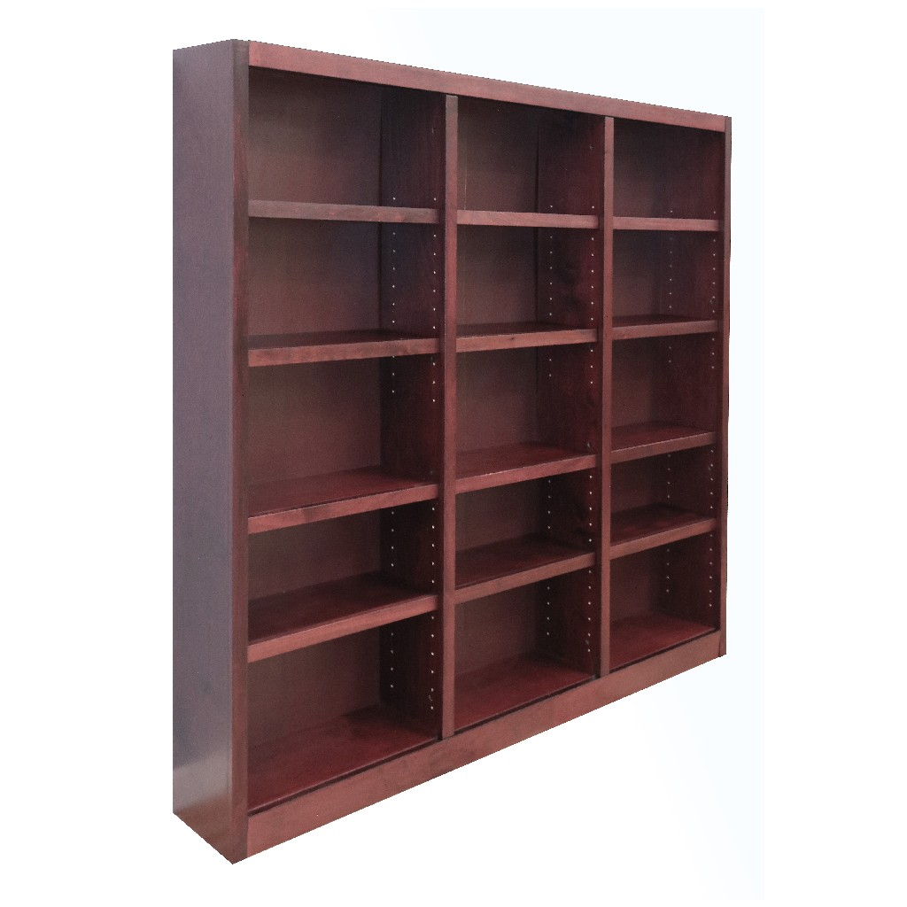 15 Shelf Triple Wide Wood Bookcase, 72 inch Tall, Cherry Finish - Concepts in Wood MI7272-C