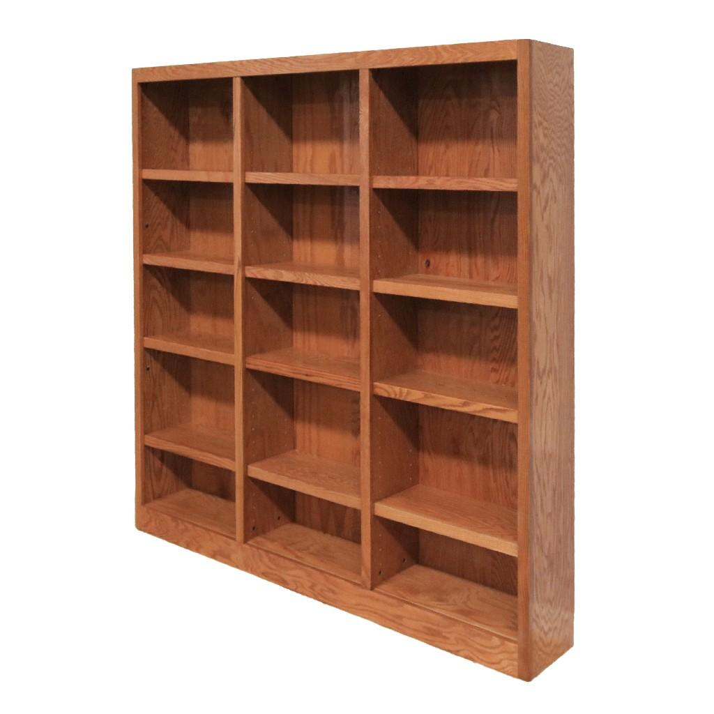 15 Shelf Triple Wide Wood Bookcase, 72 inch Tall, Oak Finish - Concepts in Wood MI7272-D
