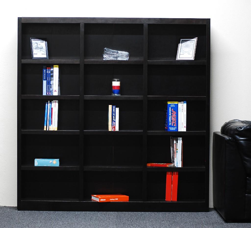 15 Shelf Triple Wide Wood Bookcase, 72 inch Tall, Espresso Finish - Concepts in Wood MI7272-E