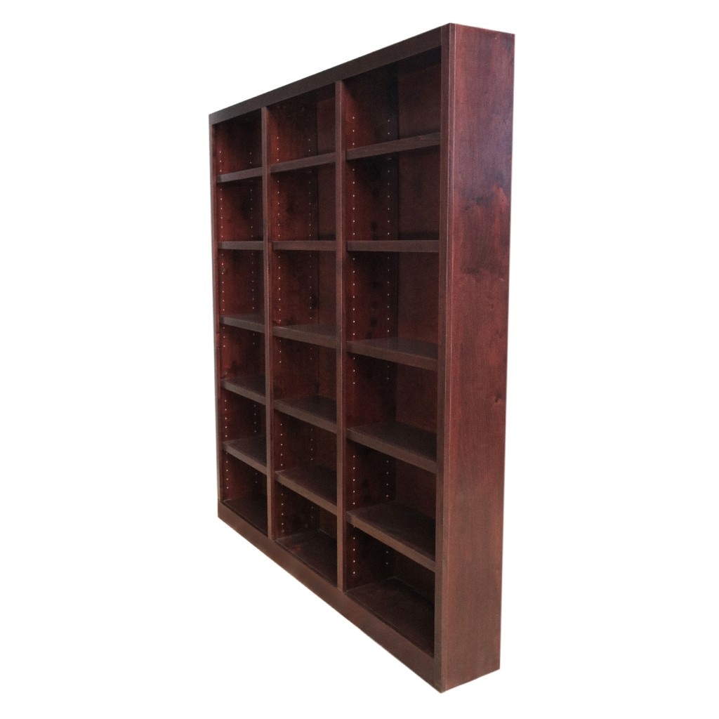 18 Shelf Triple Wide Wood Bookcase, 84 inch Tall, Cherry Finish - Concepts in Wood MI7284-C