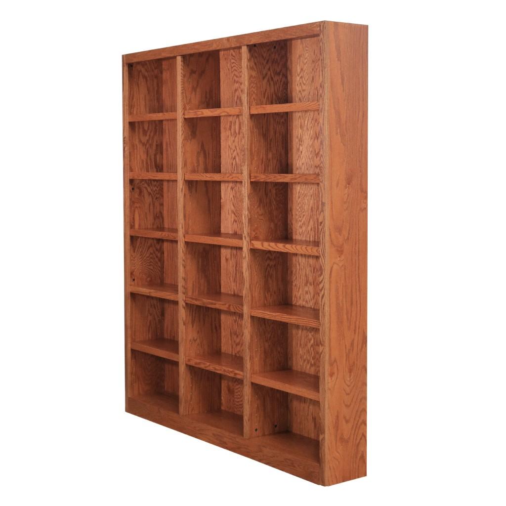 18 Shelf Triple Wide Wood Bookcase, 84 inch Tall, Oak Finish - Concepts in Wood MI7284-D