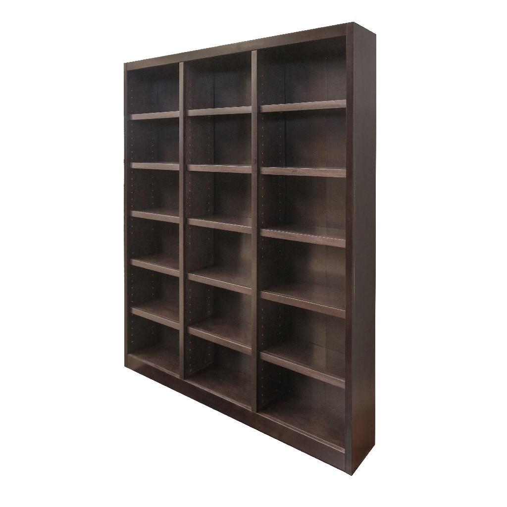 18 Shelf Triple Wide Wood Bookcase, 84 inch Tall, Espresso Finish - Concepts in Wood MI7284-E