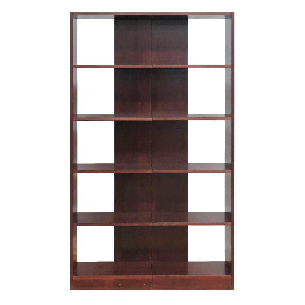 5 Shelf Wood Bookcase Towers, Set of Two, Reversible, Cherry Finish - Concepts in Wood RB2072-C