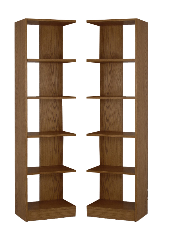 5 Shelf Wood Bookcase Towers, Set of Two, Reversible, Oak Finish - Concepts in Wood RB2072-D