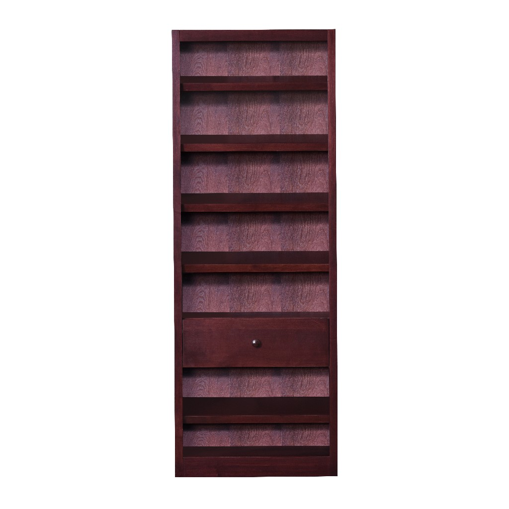 20 Pair Wood Shoe Rack with 7 Shelves and Storage Drawer, Cherry Finish - Concepts in Wood SR3084-C