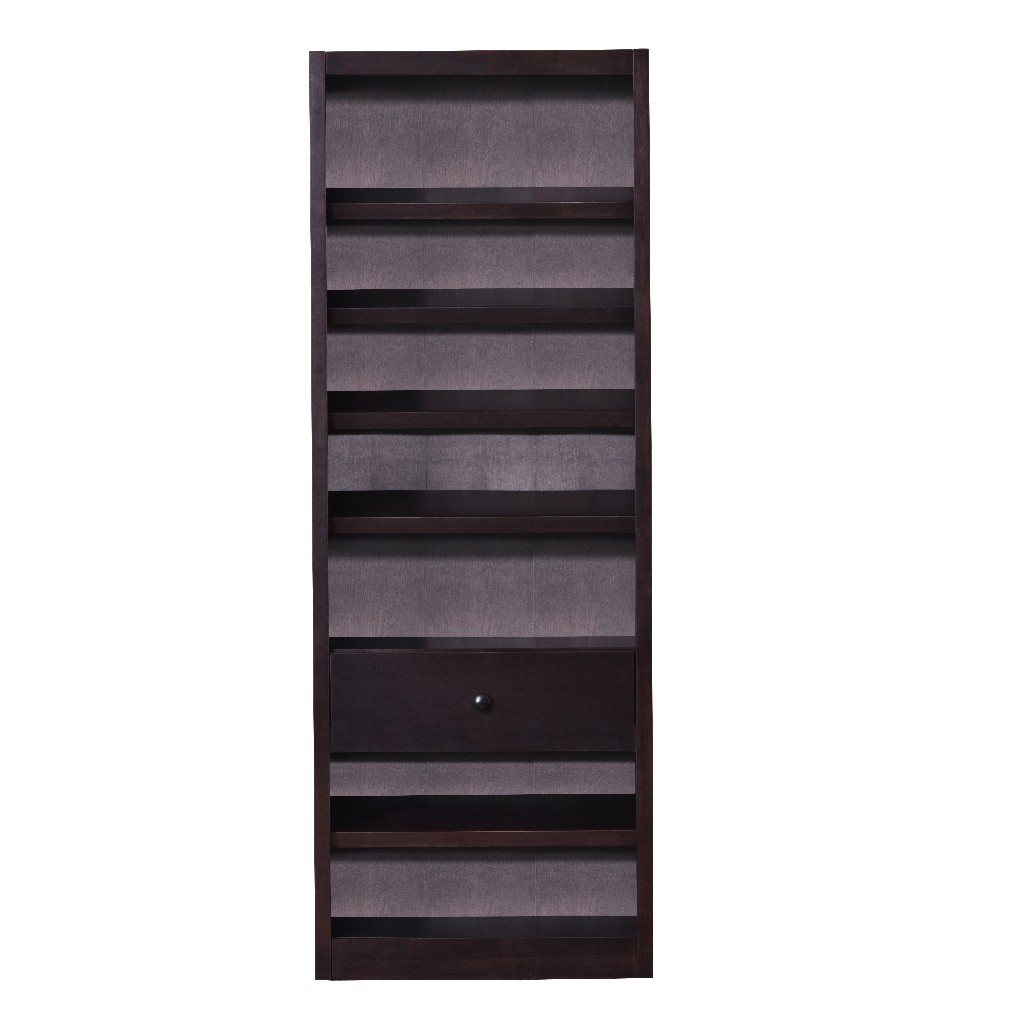 20 Pair Wood Shoe Rack with 7 Shelves and Storage Drawer, Espresso Finish - Concepts in Wood SR3084-E