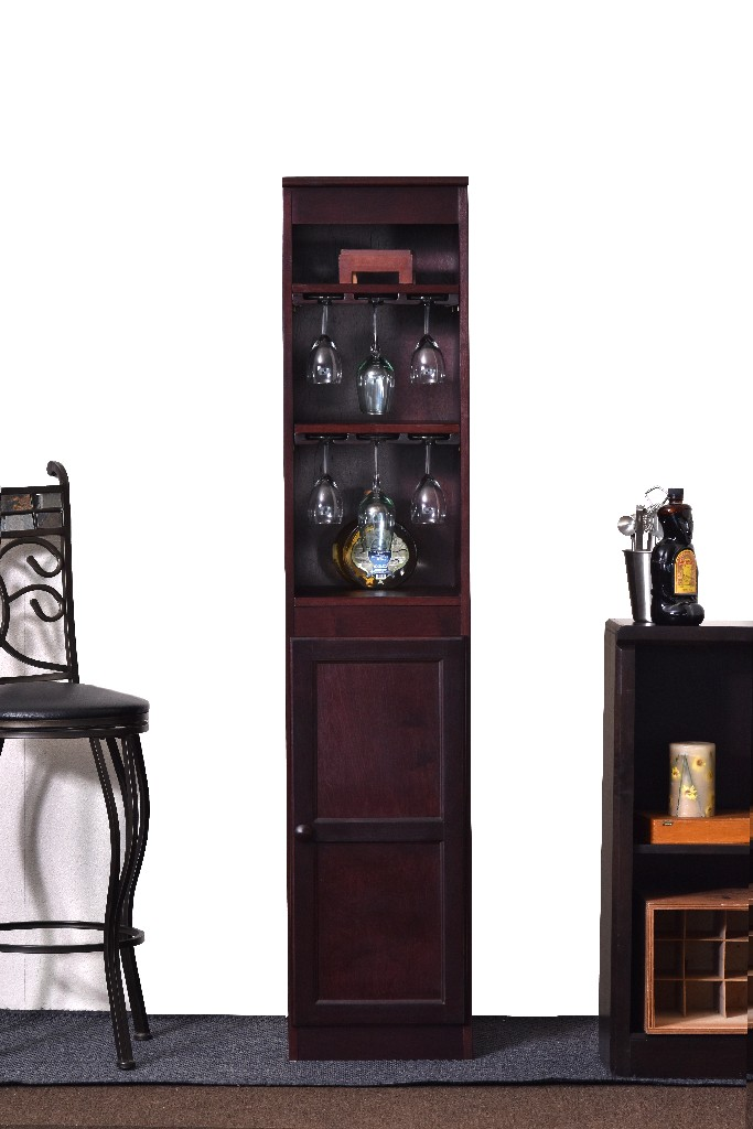 21 Bottle Wood Wine Cabinet with Hanging Glassware Storage, Cherry Finish - Concepts in Wood WC1572-C