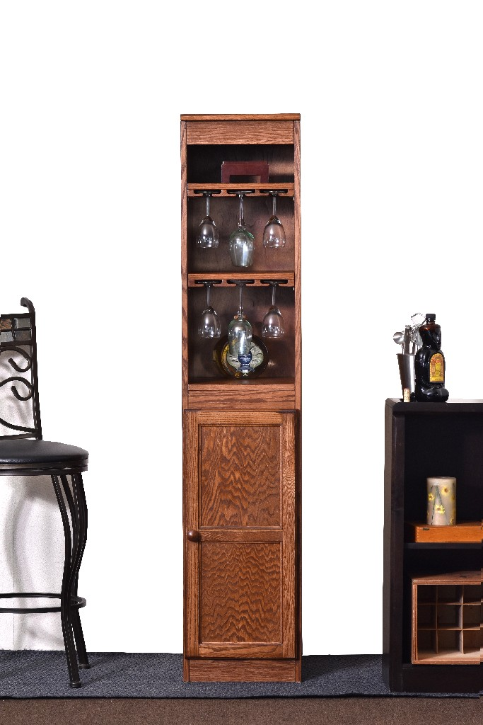 21 Bottle Wood Wine Cabinet with Hanging Glassware Storage, Oak Finish - Concepts in Wood WC1572-D